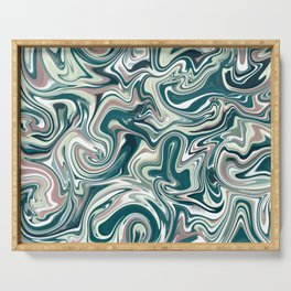Marbling Green Rose Abstract Art Digital Painting Gift Serving Tray
