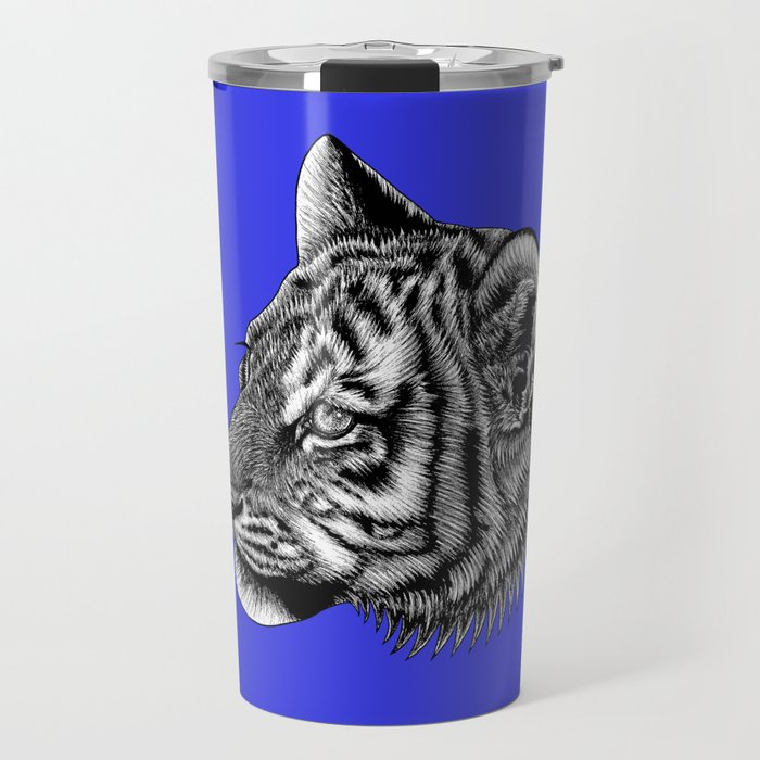 Amur tiger cub - big cat - ink illustration Travel Mug