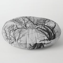 Black and white haunting forest Floor Pillow