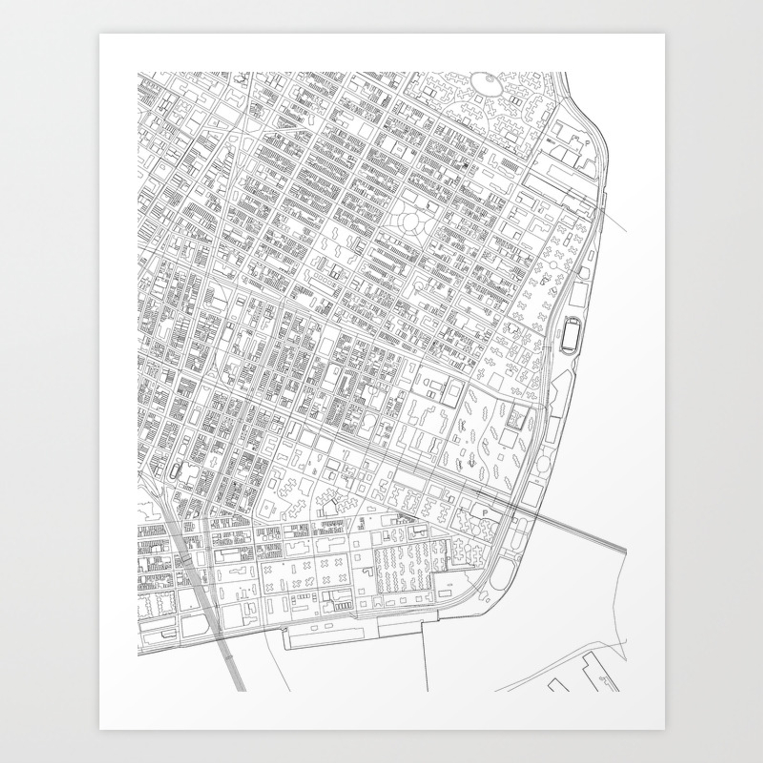 Abstract Map of New York City Manhattan Lower East Side Art Print
