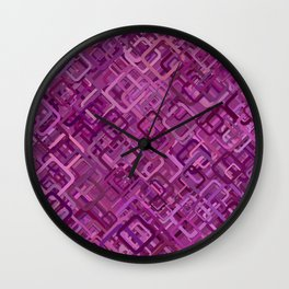 Purple Rounded Squares Wall Clock