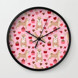 Shiba Inu dog breed love cupcakes hearts valentines day pet gifts Shiba inus Wall Clock