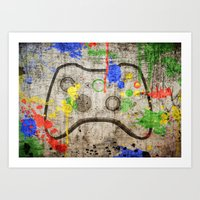 xbox Art Prints featuring Controller Graffitti XBOX by AngoldArts