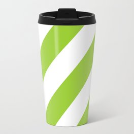 Yellow green diagonal striped pattern Travel Mug