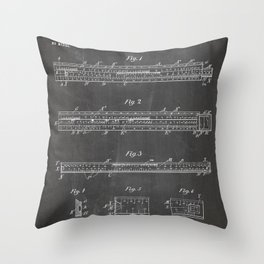 Engineering Patent - Engineers Slide Rule Art - Black Chalkboard Throw Pillow