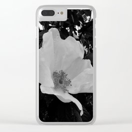 Wild Beach Rose in Black and White Clear iPhone Case