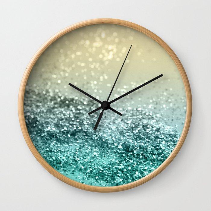 Lemon Twist Beach Glitter #2 #shiny #decor #art #society6 Wall Clock