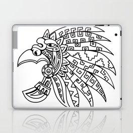 Aztec Feathered Headdress Drawing Black and White Laptop & iPad Skin