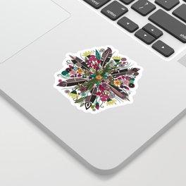 bohemian posy white Sticker