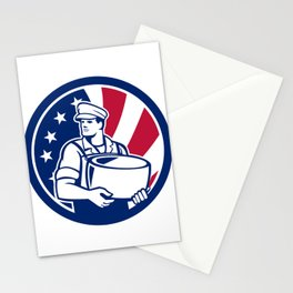 American Artisan Cheese Maker USA Flag Icon Stationery Cards