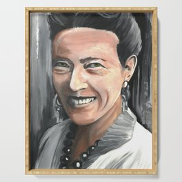 Simone de Beauvoir , Drawings Feminist Icon Portrait, Minimalist Wall Art Decor, Nursery Art, Womens Activist, Women's Rights Serving Tray