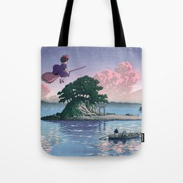 Kiki's Delivery Service and vintage japanese woodblock mashup Tote Bag