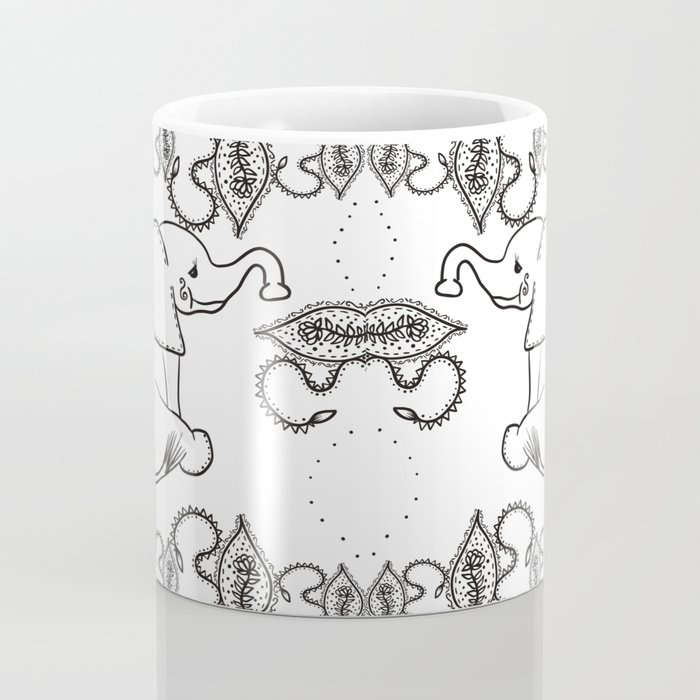 Baby Elephant and Paisley in Black and White Coffee Mug