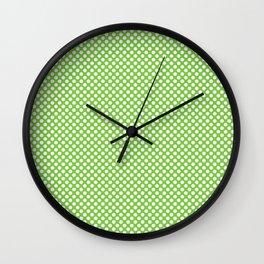 Jasmine Green and White Polka Dots Wall Clock