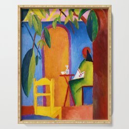 August Macke - Turkish Cafe - Digital Remastered Edition Serving Tray