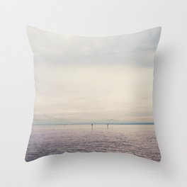 sunset along Lake Constance in Germany ... Throw Pillow