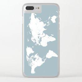 Minimalist World Map in Slate Blue Clear iPhone Case