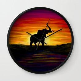 Elephant Sunset Wall Clock