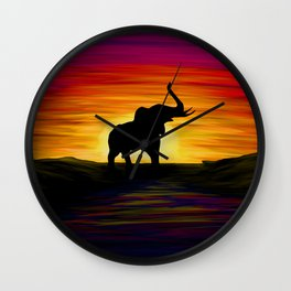 Elephant Sunset Wall Clock