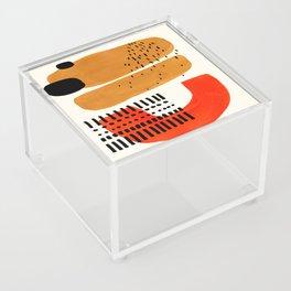 Mid Century Modern Abstract Minimalist Retro Vintage Style Fun Playful Ochre Yellow Ochre Orange  Acrylic Box