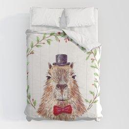 "Watercolor painting ""Sir Capybara"" Comforters"
