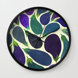 Eggplant's party Wall Clock