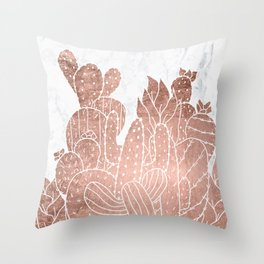 Modern faux rose gold cactus hand drawn pattern illustration white marble Throw Pillow