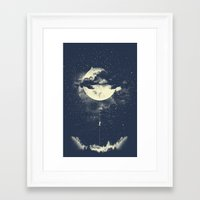 fairy Framed Art Prints featuring MOON CLIMBING by los tomatos