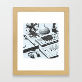 Low Poly Studio Objects 3D Illustration Grey Framed Art Print