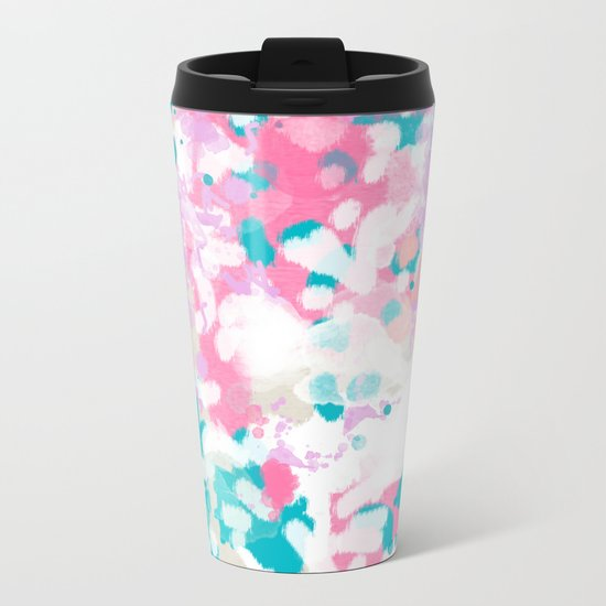 Shaz - abstract painting minimal modern color palette boho nursery home decor Metal Travel Mug