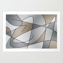 ABSTRACT CURVES #2 (Grays & Beiges) Art Print