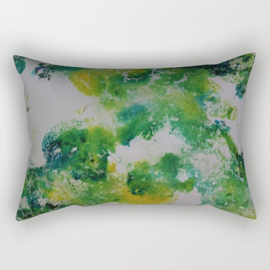 Its about space - in greens and yellows Rectangular Pillow
