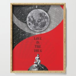 Full Moon Love Quote Retro Vintage Nude Woman Love is the drug Rock Music Song Lyrics Serving Tray