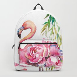 Pink Flamingо with Peony Wings Backpack