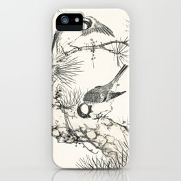 Japanese Willow Tit and Pine Tree illustration from Pictorial Monograph of Birds (1885) by Numata Ka iPhone Case