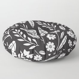 Blooming Field - black Floor Pillow