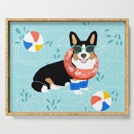 Tricolored Corgi Pool Party - cute corgi dog design pool party summer beach ball dog costume dogs Serving Tray