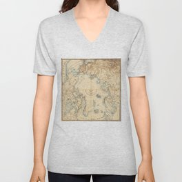 Map of the Arctic and Adjacent Regions (1855) Unisex V-Neck