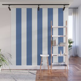Blue yonder - solid color - white vertical lines pattern Wall Mural