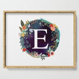 Personalized Monogram Initial Letter E Floral Wreath Artwork Serving Tray