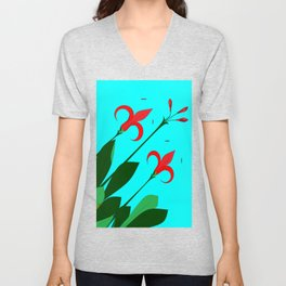A Garden of Big Red Flowers with Buds with Blue Unisex V-Neck
