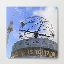 World Time Clock with Berlin TV Tower, Alex Metal Print