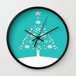 Christmas Tree Made Of Snowflakes On Jade Background Wall Clock