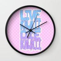 kawaii Wall Clocks featuring Live Kawaii Die Kawaii by Lixxie Berry Illustration