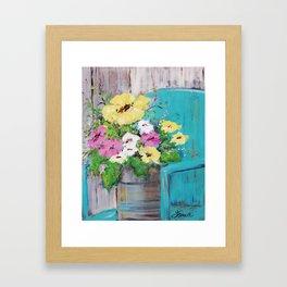 Spring Floral on Vintage Lawn Chair Framed Art Print