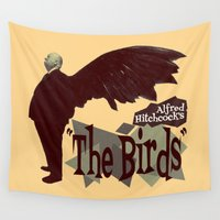 hitchcock Wall Tapestries featuring Alfred Hitchcock  |  The Birds by Silvio Ledbetter