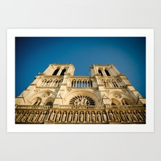 Notre Dame Cathedral on the Seine Facade Art Print