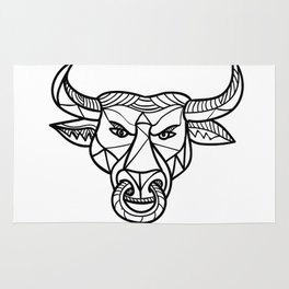 Texas Longhorn Bull Head Mosaic Rug