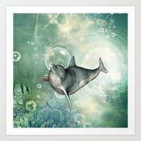 dolphin Art Prints featuring Dolphin by nicky2342
