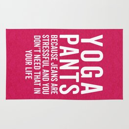 Yoga Pants Stressful Funny Quote Rug